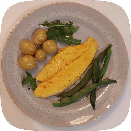 fish dish with olives and green beans